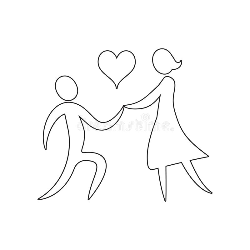 A loving couple holds a heart icon. Element of valentine\'s day, wedding for mobile concept and web apps icon. Outline, thin line. Icon for website design and royalty free stock photography