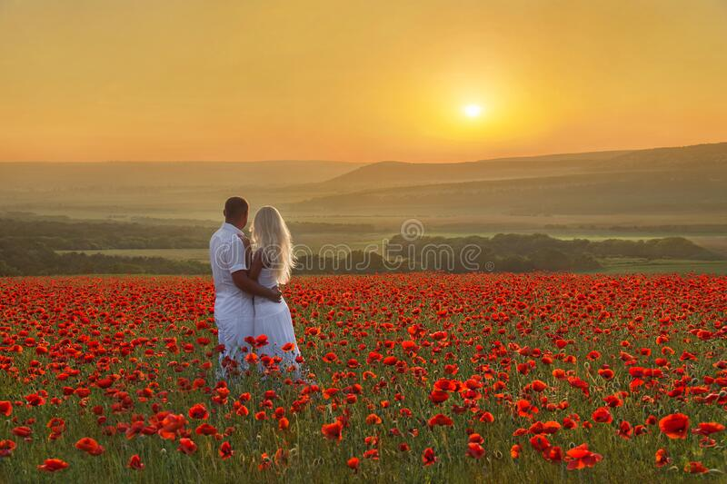 Loving couple hug one another during romantic date in marvellous spring poppy field with bright sunset above forest and mountains royalty free stock photos