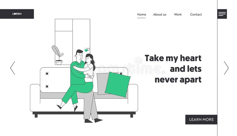Loving Couple Hugging Sitting on Couch at Home Website Landing Page. Romantic Relations. Man Woman Sitting on Sofa stock illustration
