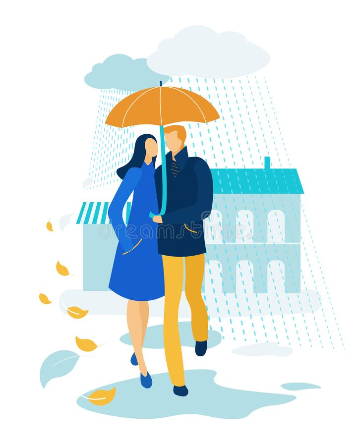 Loving Couple Hugging, under Umbrella in Rainy Day. Loving Happy Couple Hugging, Holding Hands and Walking under Umbrella in Rainy Autumn Weather. Romantic stock illustration
