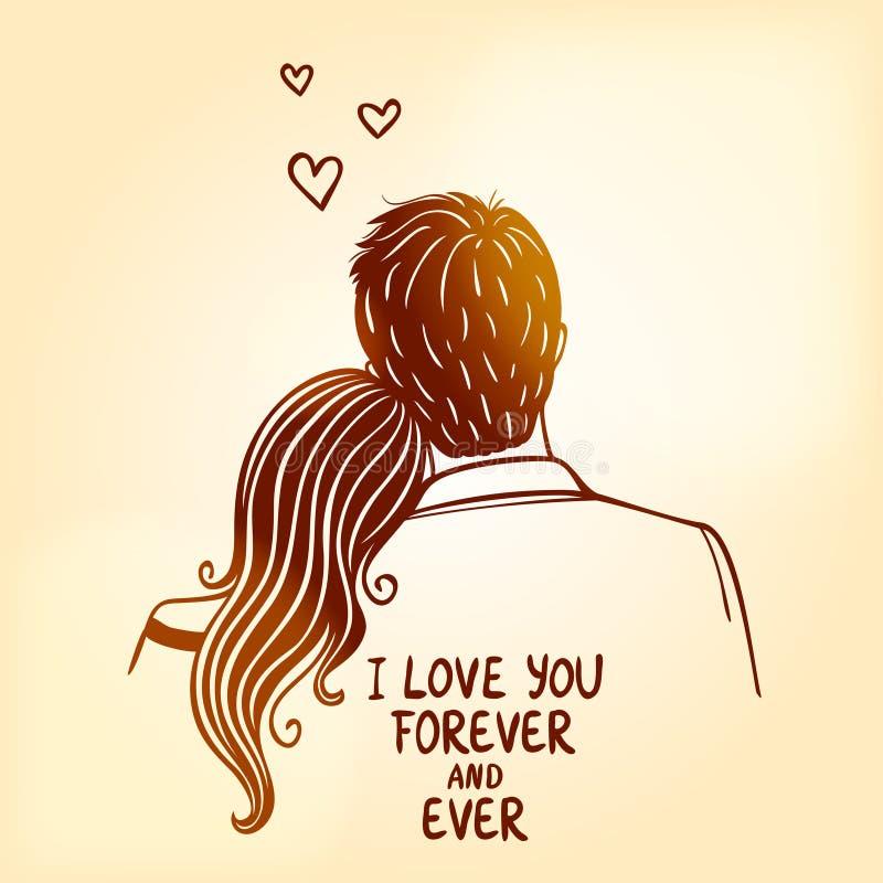 Loving couple royalty free illustration