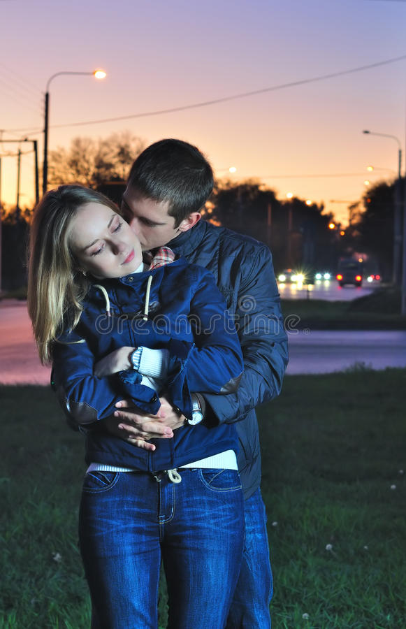 Download Loving Couple Kissing In The Evening Stock Image - Image: 26445717