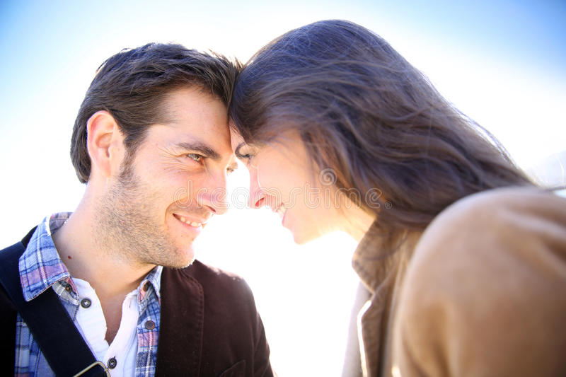 Loving couple looking at each other stock image