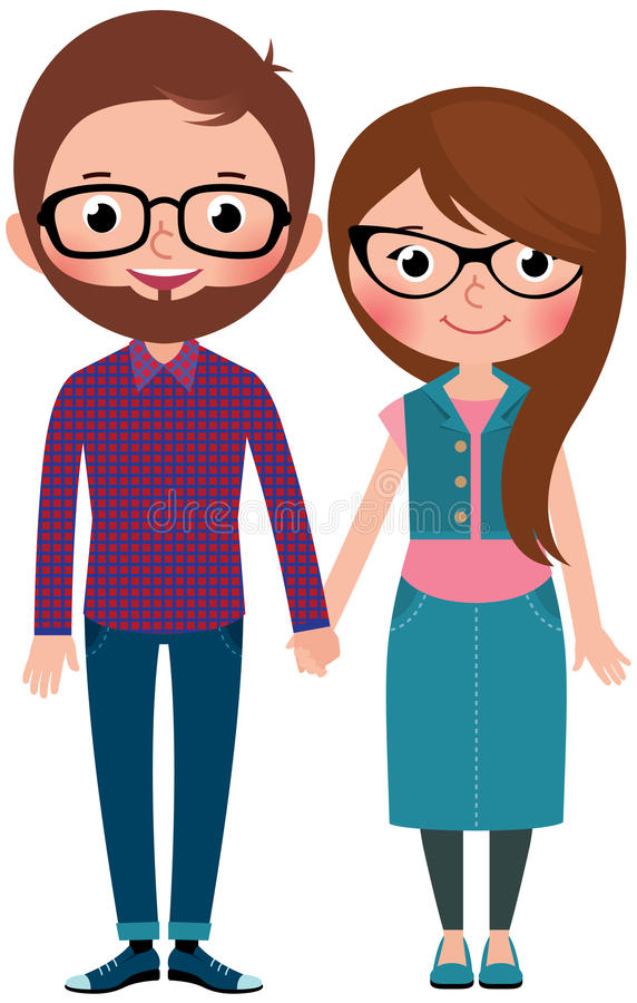 Loving couple man and woman dressed as hipsters. Stock Vector cartoon illustration stock illustration