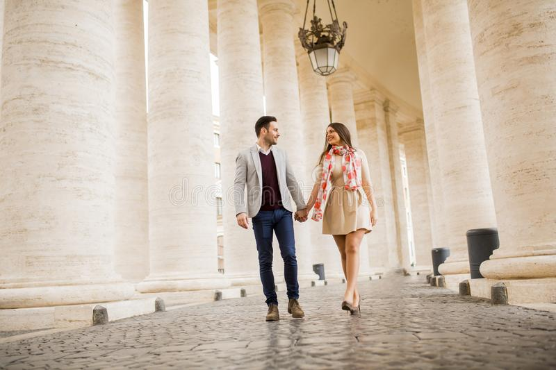 Loving couple, man and woman traveling on holiday in Rome, royalty free stock photo