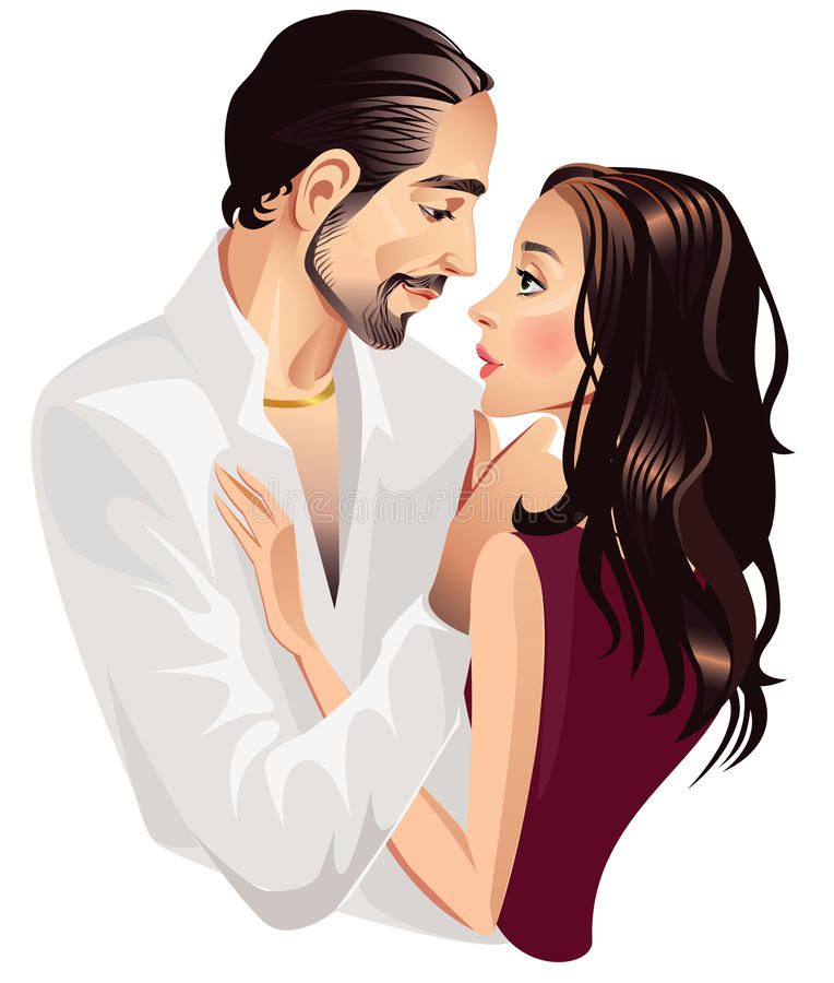 Loving couple men and woman royalty free illustration