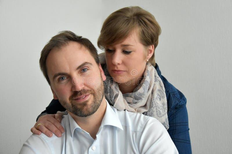 Loving couple. Portrait of cute loving couple royalty free stock photos