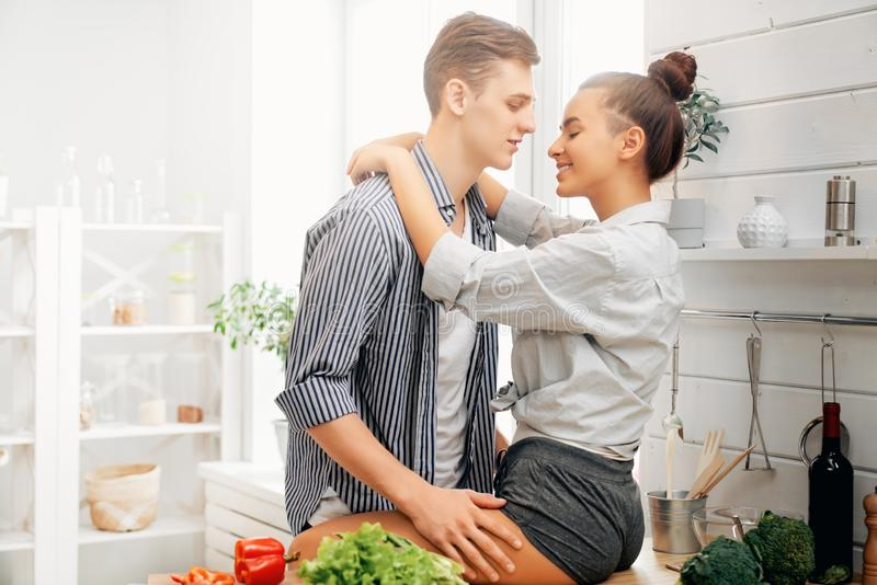 Loving couple is preparing the proper meal royalty free stock image
