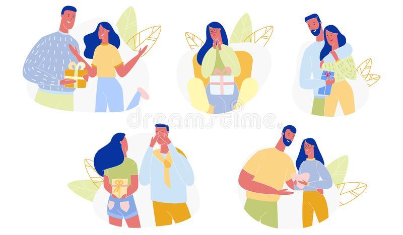 Loving Couple Presenting Gifts Set. Happy People Cartoon. Loving Couple Presenting Gifts on Happy Valentine Day, Birthday, Holidays. Surprise, Love, Man and vector illustration