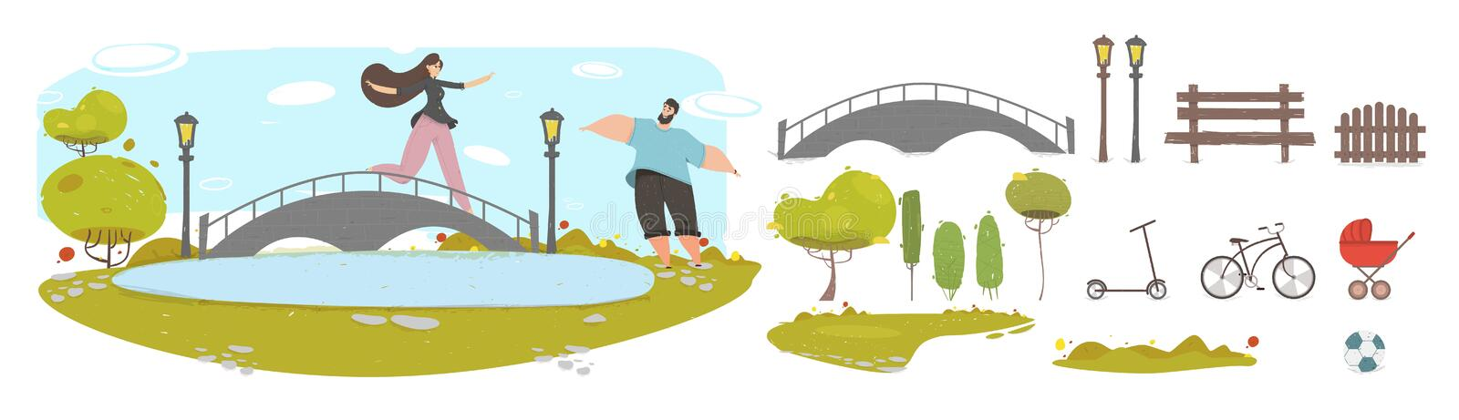 Loving Couple Relations Set People Walking in Park royalty free illustration
