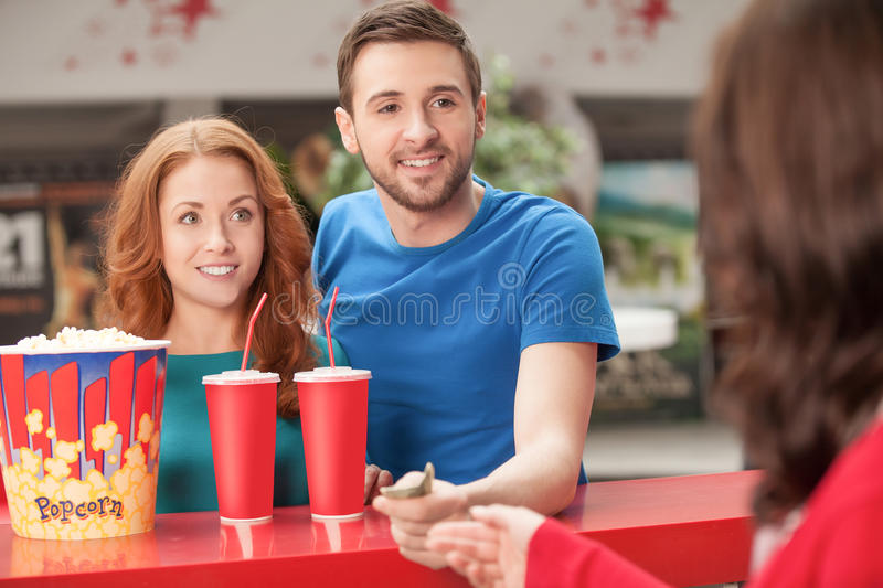 Loving couple at the restaurant. stock images