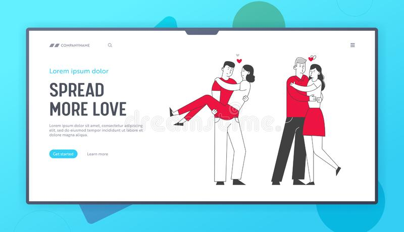 Loving Couple Romantic Relations Website Landing Page. Man Holding Woman on Hands, Hugging and Kissing. Happy Lovers Dating, Romance and Love Web Page Banner stock illustration