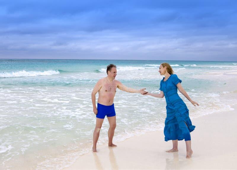 Loving couple on the seashore, Cayo Largo island, Cuba stock photo