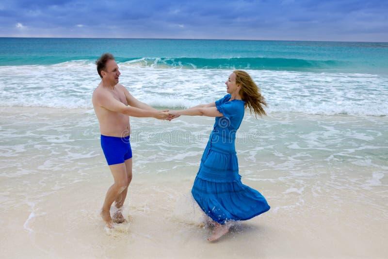 Loving couple on the seashore, Cayo Largo island, Cuba stock image