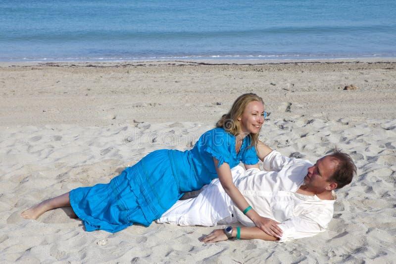 Loving couple on the seashore, Cuba, Varadero royalty free stock photo