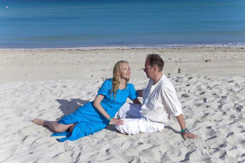 The loving couple on the seashore, Cuba, Varadero royalty free stock images
