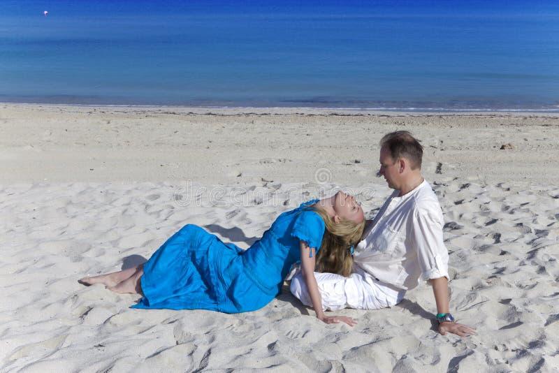 The loving couple on the seashore, Cuba, Varadero stock photos