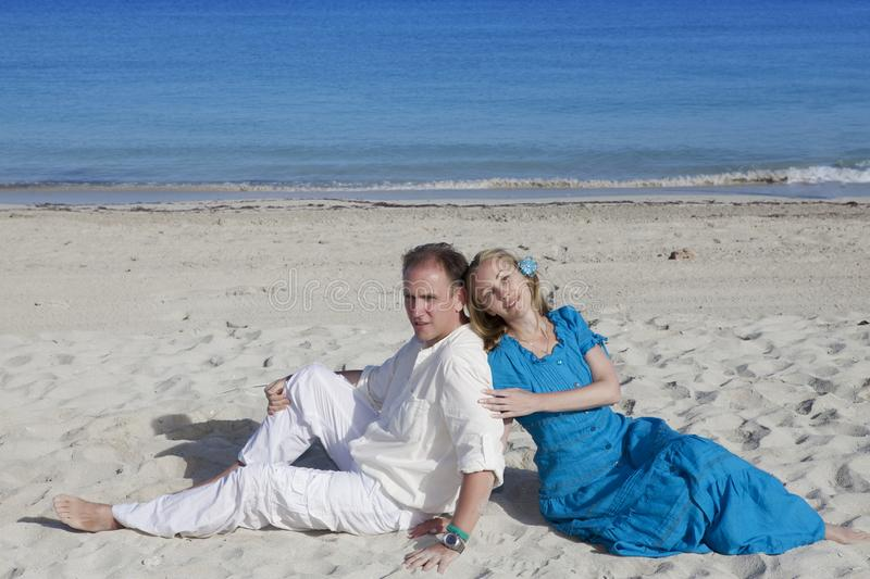 The loving couple on the seashore, Cuba, Varadero stock photos