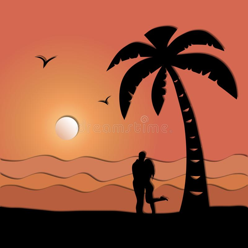 Loving couple on the seashore, paper art style. Man embraces woman on the seashore at sunset. Paper art style vector illustration