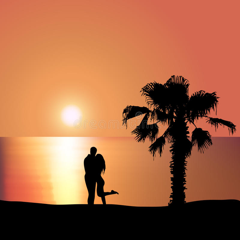 Loving couple on the seashore at sunset. Man embraces woman on the seashore at sunset stock illustration