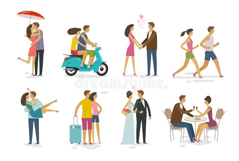 Loving couple, set of icons. Family, love concept. Cartoon vector illustration stock illustration