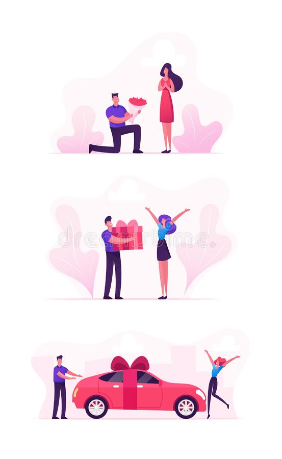 Loving Couple Set with Man Giving Presents to Girl. Happy Surprised Women Getting Car, Flower Bouquet and Gift Box Wrapped. With Bow as Presents. Love Human royalty free illustration