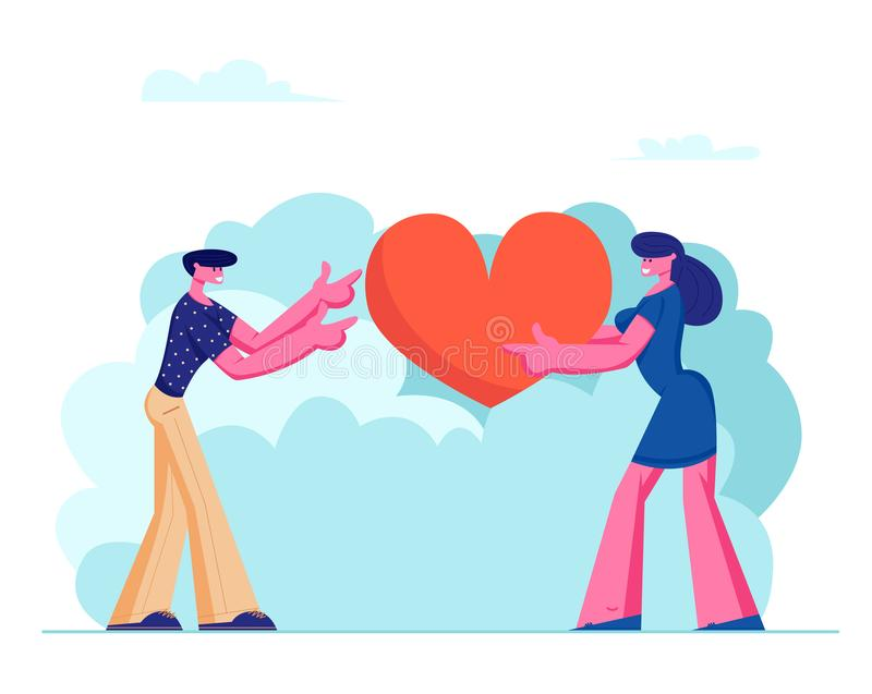 Loving Couple Share Huge Red Heart to Each Other. Human Relations, Love, Romantic Dating. Male and Female Character Spending Time royalty free illustration