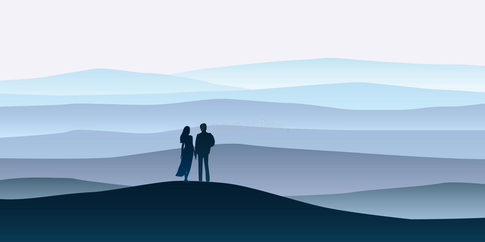 Loving couple silhouette , a man and a woman are looking at the new year goals. Mountain landscape minimalistic. Rocks vector illustration