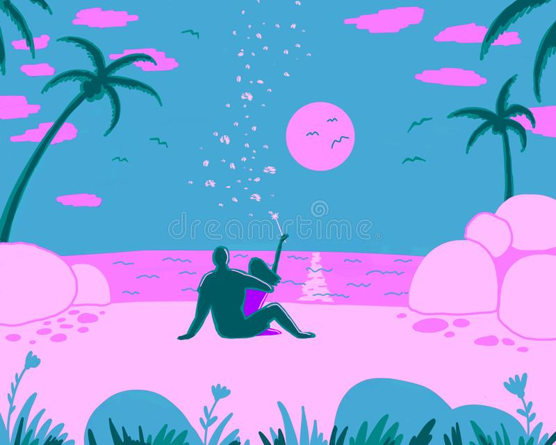 A loving couple is sitting on the beach royalty free illustration