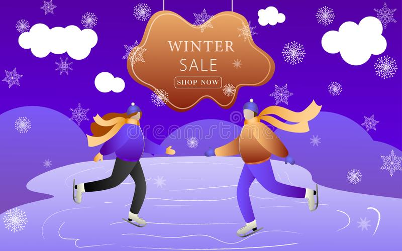 Loving Couple Skating on the rink at holiday. Happy Young Family or Friends Man and Woman Web Page Banner. Colorful winter banner vector illustration