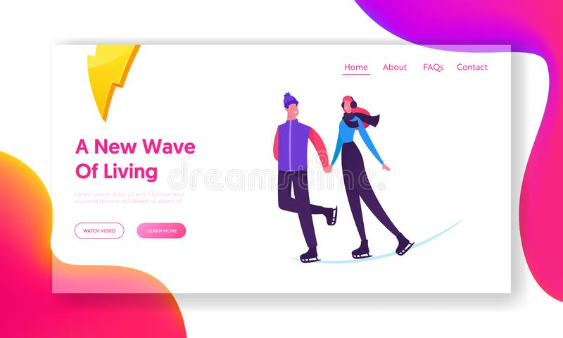 Loving Couple Skating Website Landing Page. Happy Young Family or Friends Man and Woman royalty free illustration