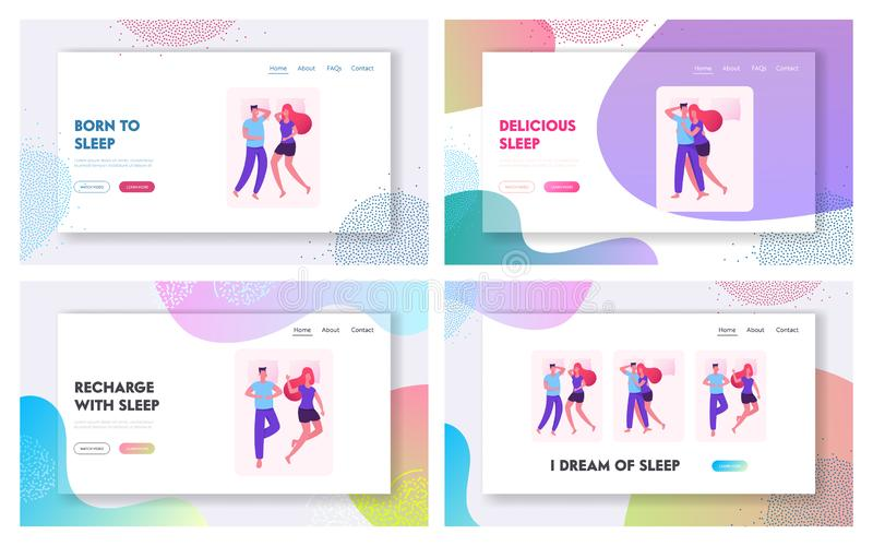 Loving Couple Sleeping and Lounging in Bed Website Landing Page Set. Male and Female Characters Lying Together stock illustration