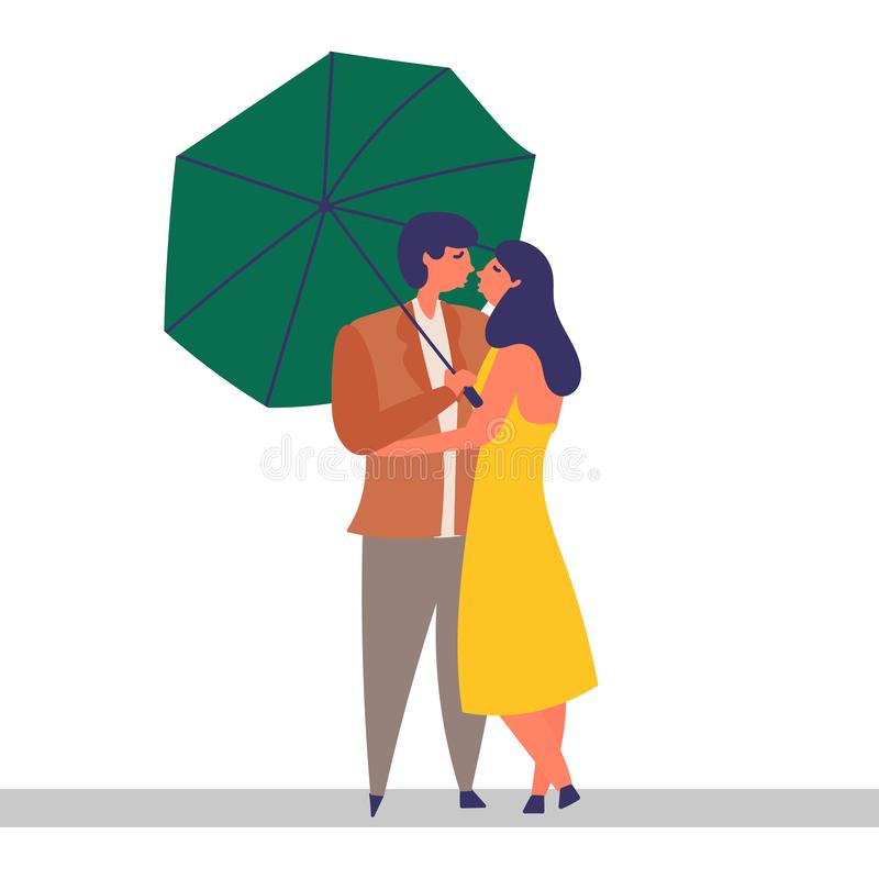 Loving couple spend time together. Love and kiss. Walk in the rain under an umbrella. EPS 10 vector editable illustration vector illustration