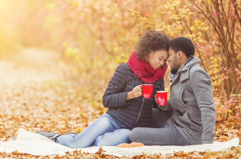 Loving couple spending time together in autumn park royalty free stock images