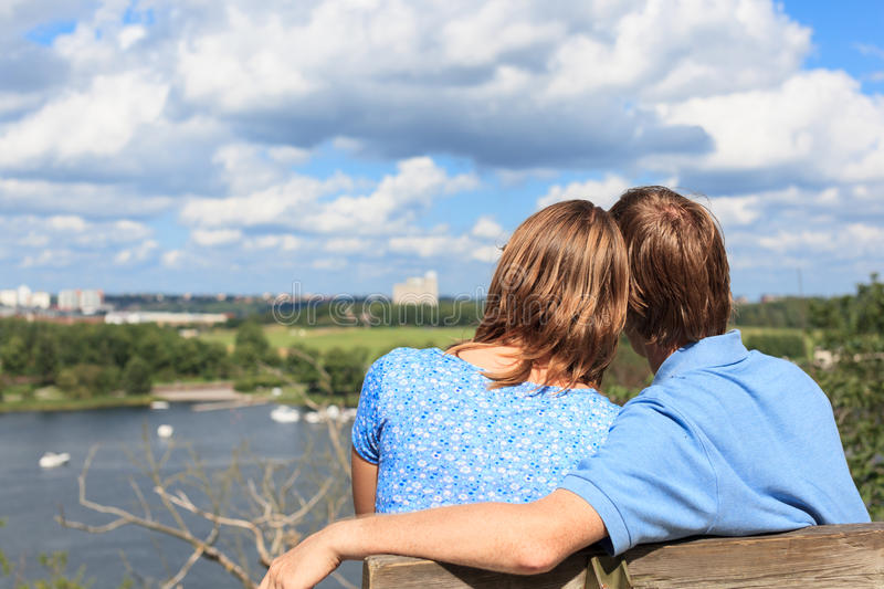 Loving couple in stockholm royalty free stock photos