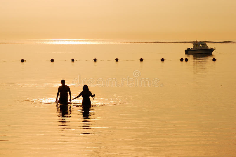 Loving Couple In Sunset Royalty Free Stock Photo