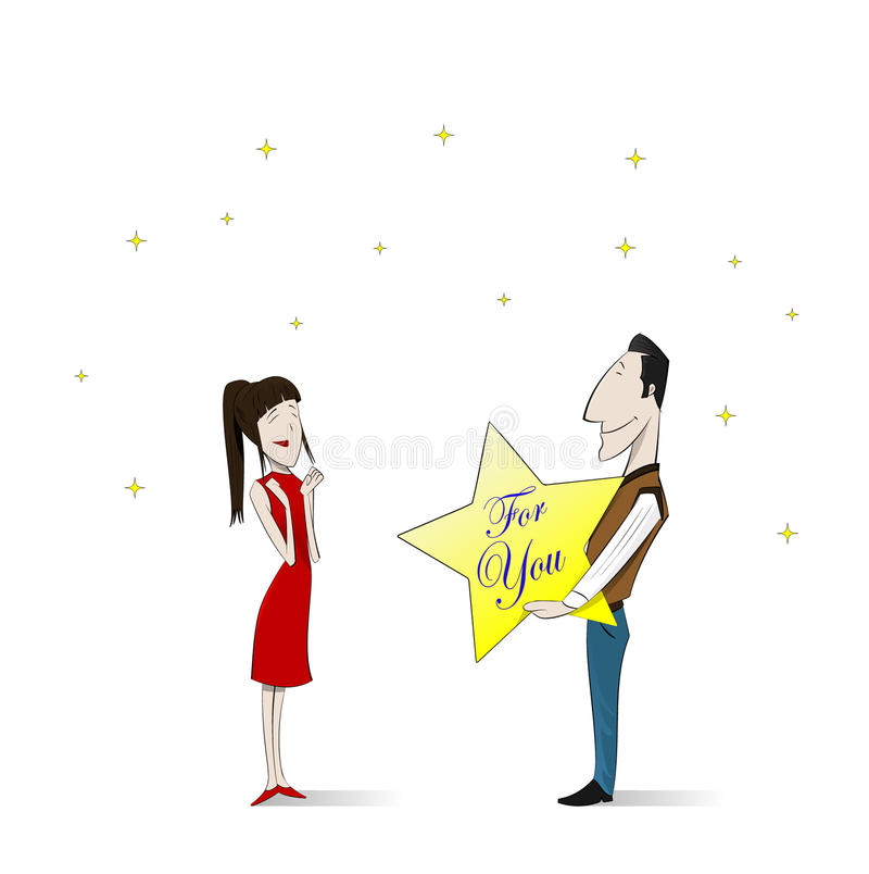 Loving couple. Vector illustration. Loving couple. The man gives his girlfriend a star from the sky. Vector illustration vector illustration