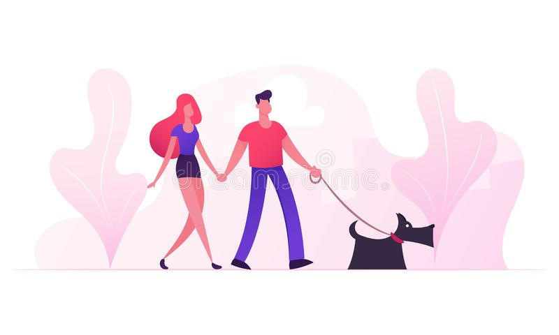 Loving Couple Walking with Dog in City Park in Sunny Summer Weather. Young Family Playing with Pet Outdoors Having Leisure royalty free illustration