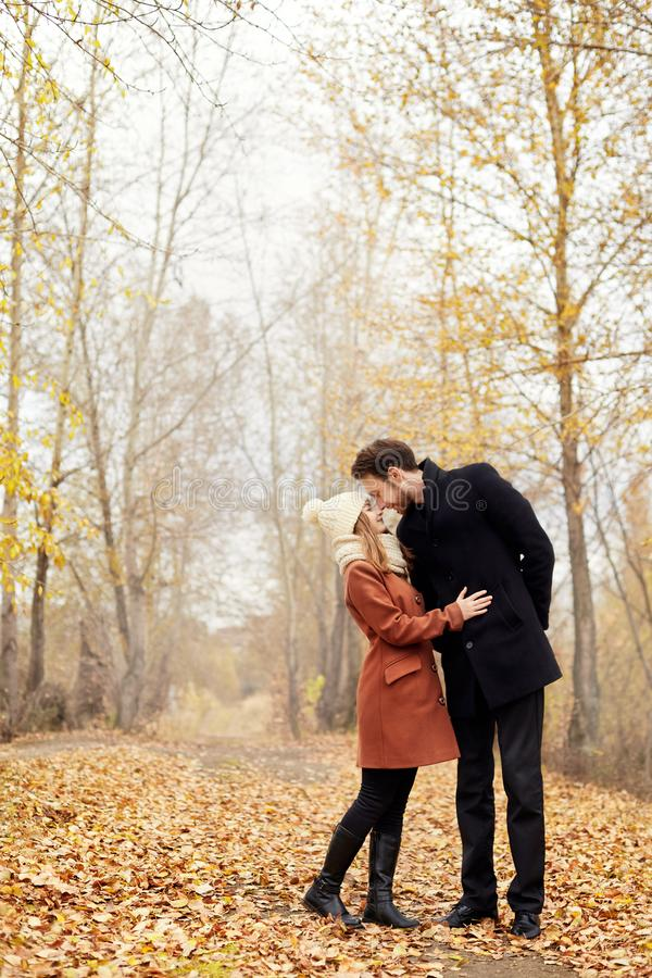 Loving couple walks in the autumn Park, hugs and kisses. Woman i stock photography
