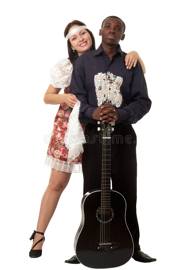 Loving couple on a white background stock image
