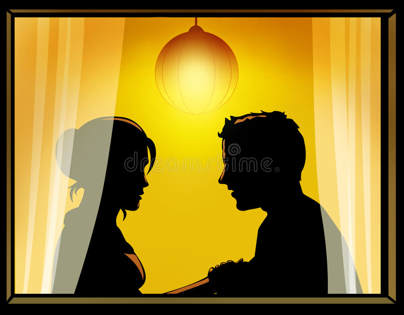 Loving couple by the window. Husband and wife by the window at home stock illustration