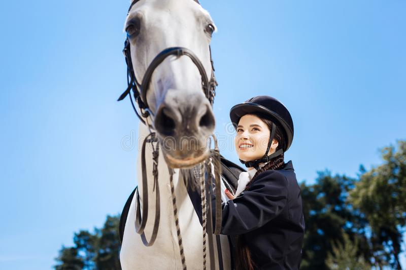 Dark-haired businesswoman loving equestrianism coming to race track. Loving equestrianism. Dark-haired prosperous businesswoman loving equestrianism coming to royalty free stock image