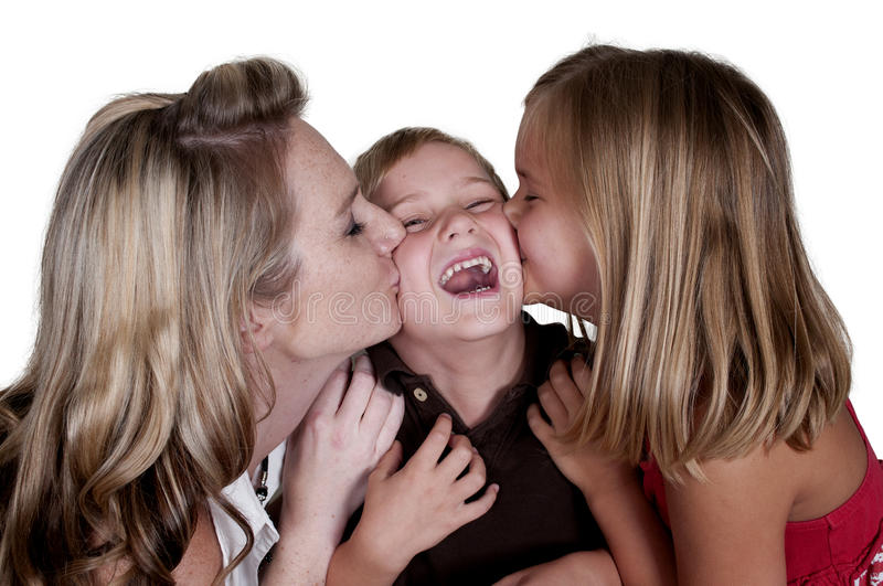 Loving Family. Single mom and her son and daughter royalty free stock photo