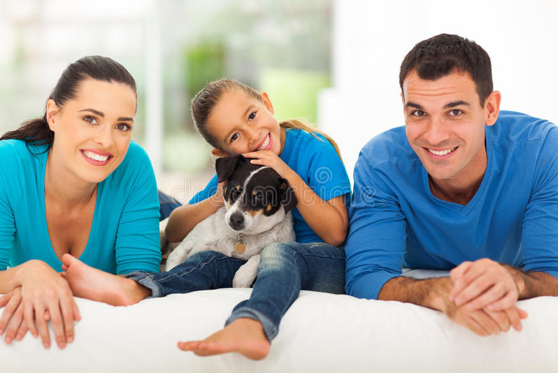 Loving family bed royalty free stock photos