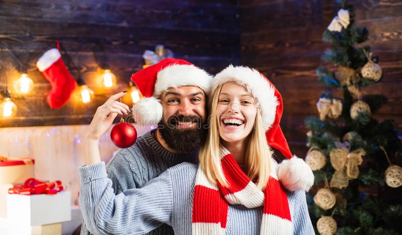Loving family. Merry Christmas and Happy New Year. Happy holidays couple celebrate and decorate the house. New Year`s royalty free stock images