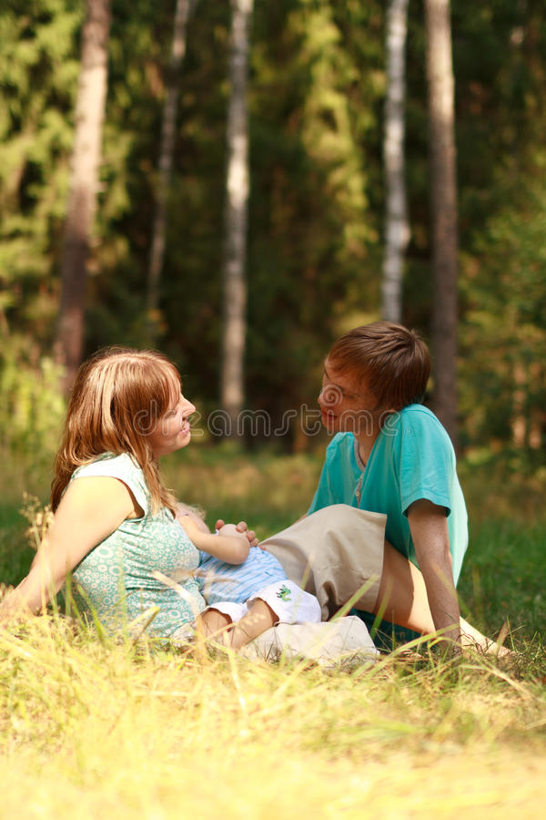 Loving family in nature royalty free stock images