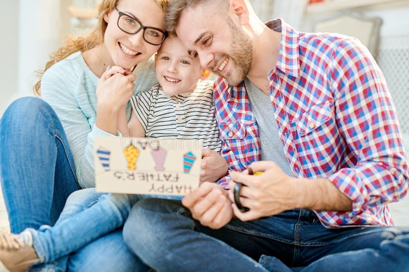 Loving Family Posing on Fathers Day royalty free stock photography