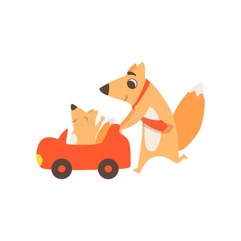 Loving father fox pushing toy car with her kid, happy family of animals, parenting concept vector Illustration on a. Loving father fox pushing toy car with her stock illustration