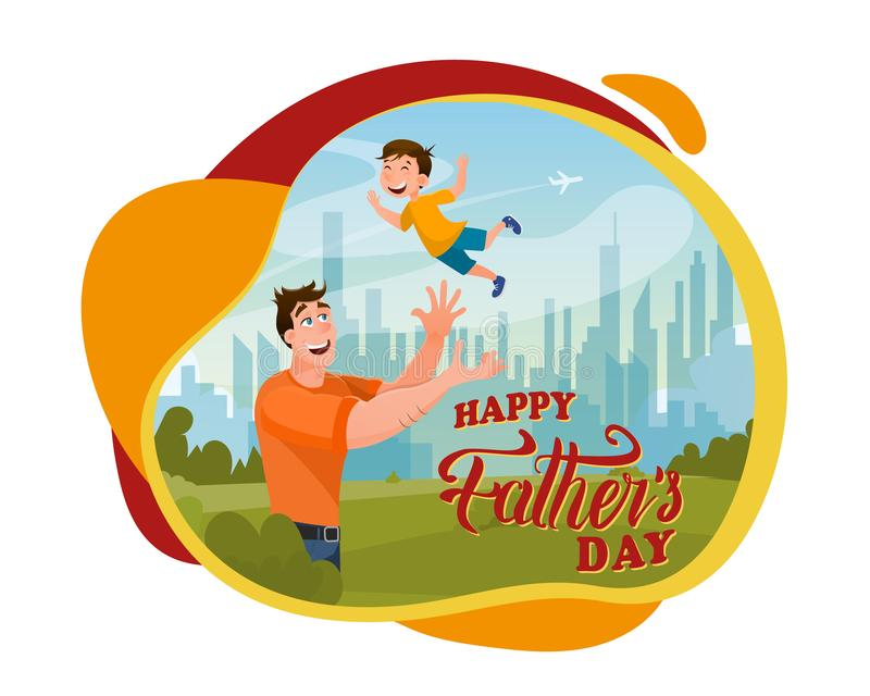 Loving Father Playing with Joyful Glad Boy Banner. Young Dad and Happy Kid Spending Time Together at City Public Park. Happy Fathers Day Card Design. Flat stock illustration