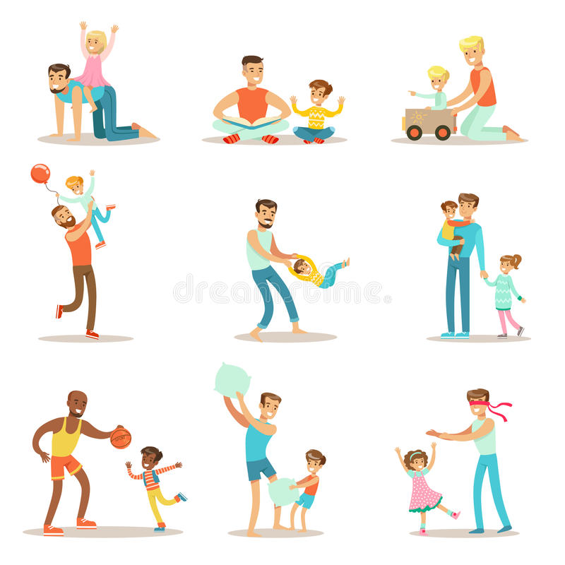 Loving Fathers Playing And Enjoying Good Quality Daddy Time With Their Happy Children Set Of Cartoon Illustrations royalty free illustration